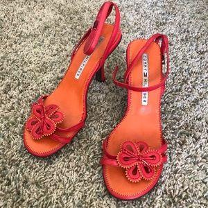 Tommy Hilfiger Orange Flower Round Toe High Heels